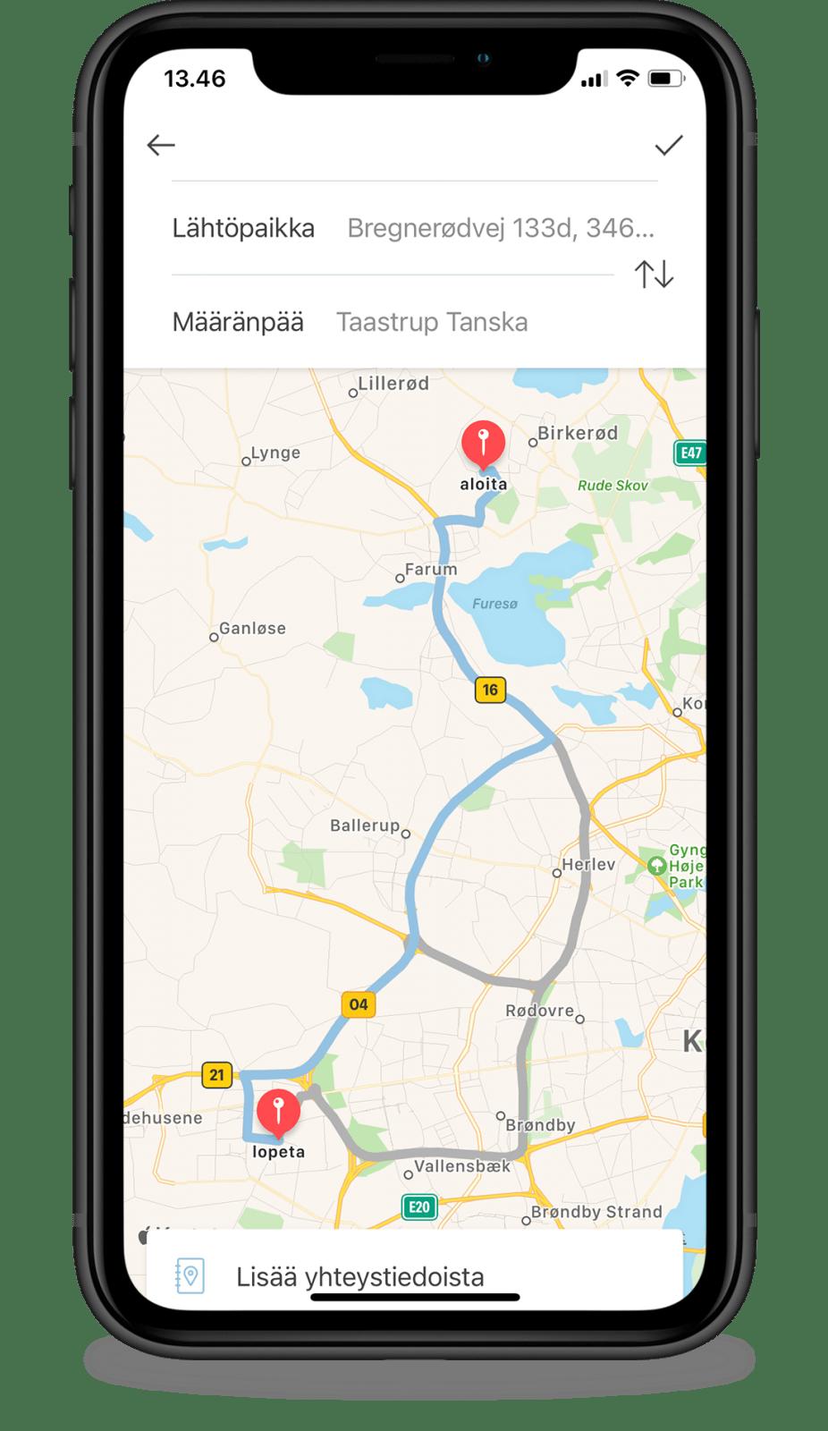 Anna ajo manuaalisesti Google Mapsin kautta